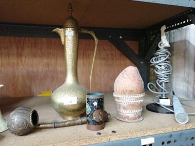 Lot 10-Cairoware type brass ewer, cloisonne brush pot,...