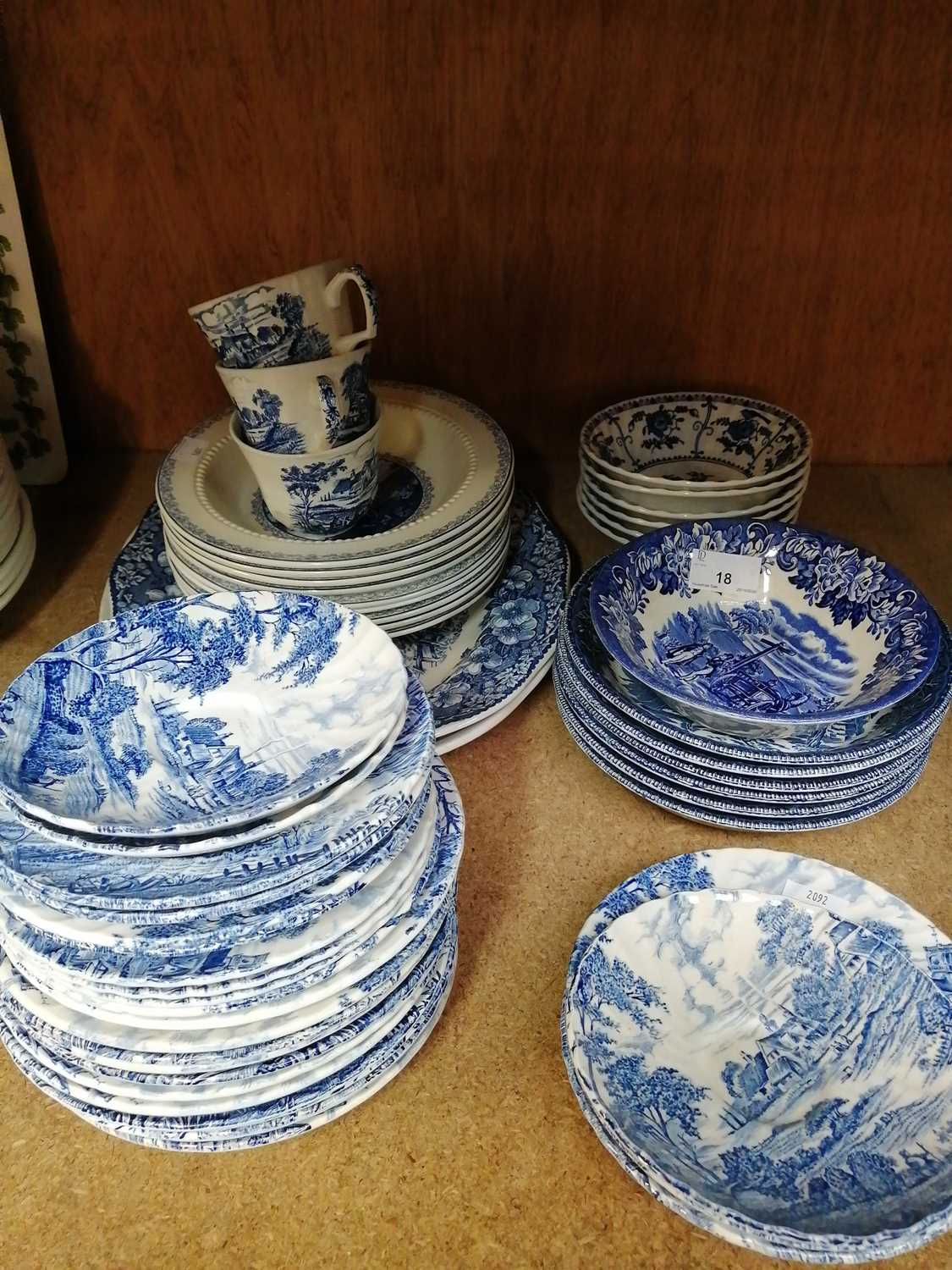 Lot 18-A collection of 'Ridgway' ironstone blue and...