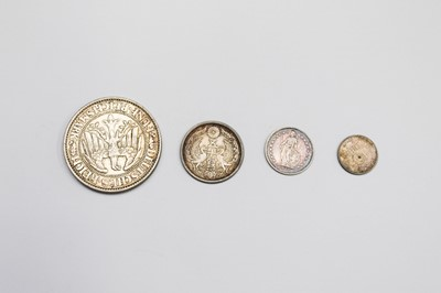 Lot 27 - A Weimar Republic 5 mark 1930 J, together with...