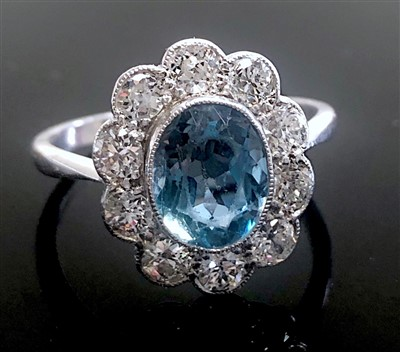 Lot 2821-A fine 18ct white gold and platinum ring with...