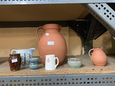 Lot 5-A handsome 'Royal Barum Ware' terracotta jug, '...