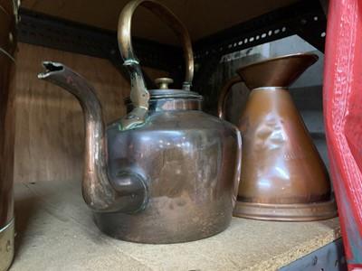 Lot 8-A copper bucket, kettle and half gallon...