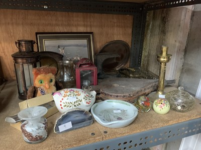 Lot 9-paper weights, a brass candle stick, agate and...