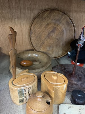 Lot 11-Wooden butter pats and wood turned items.
