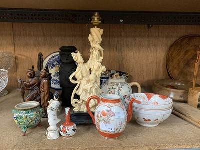 Lot 12-A resin asian lamp and statuette, a wood...
