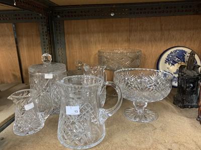 Lot 13-Cut glass cookie jar, bowl on stand, jug etc