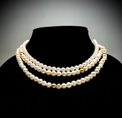 Lot 73 - Two pearl necklaces each with an 18ct gold...