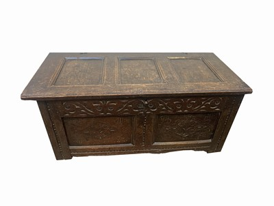 Lot 32 - A late 17th century oak coffer, with a triple...