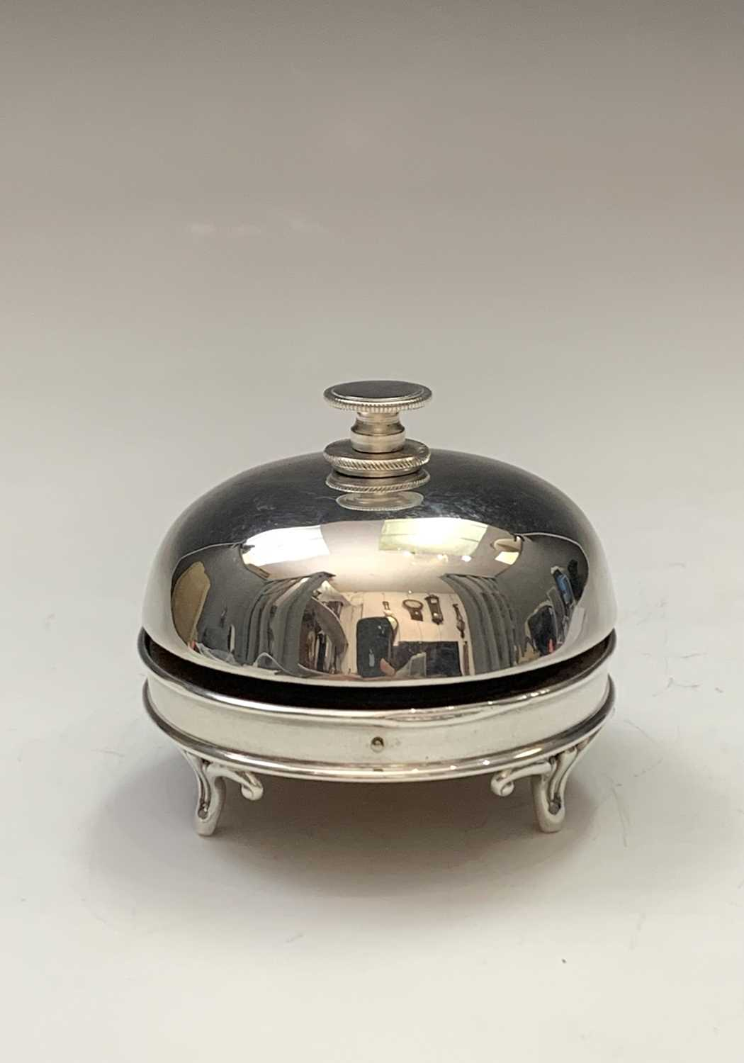 Lot 26-A rare Edwardian silver mounted service bell...