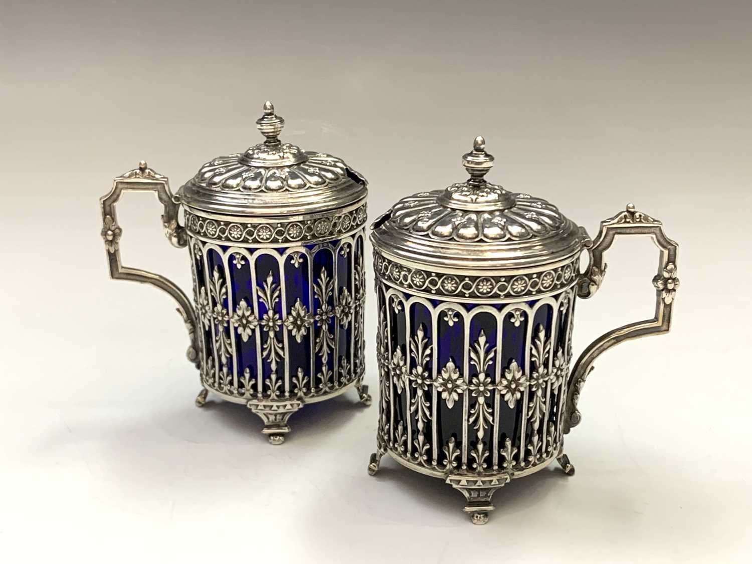 Lot 14-A pair of French silver pierced and embossed...