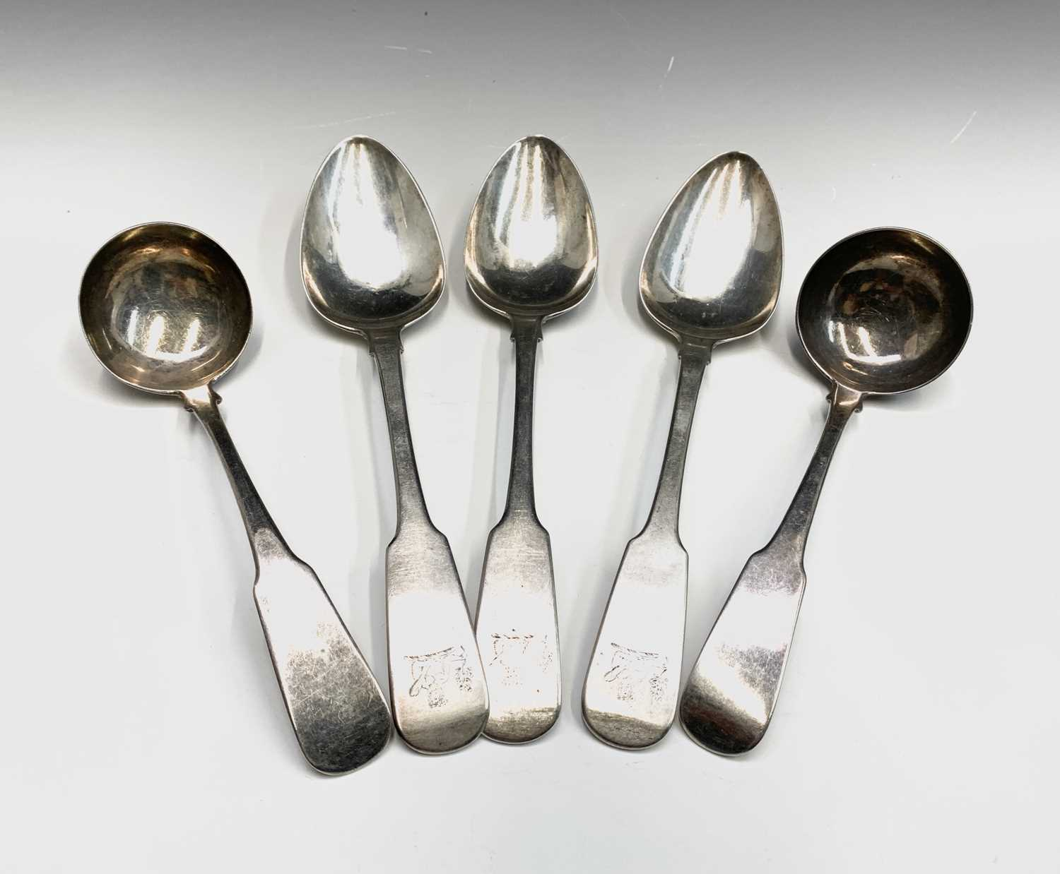 Lot 13-Three Exeter fiddle pattern tablespoons by...