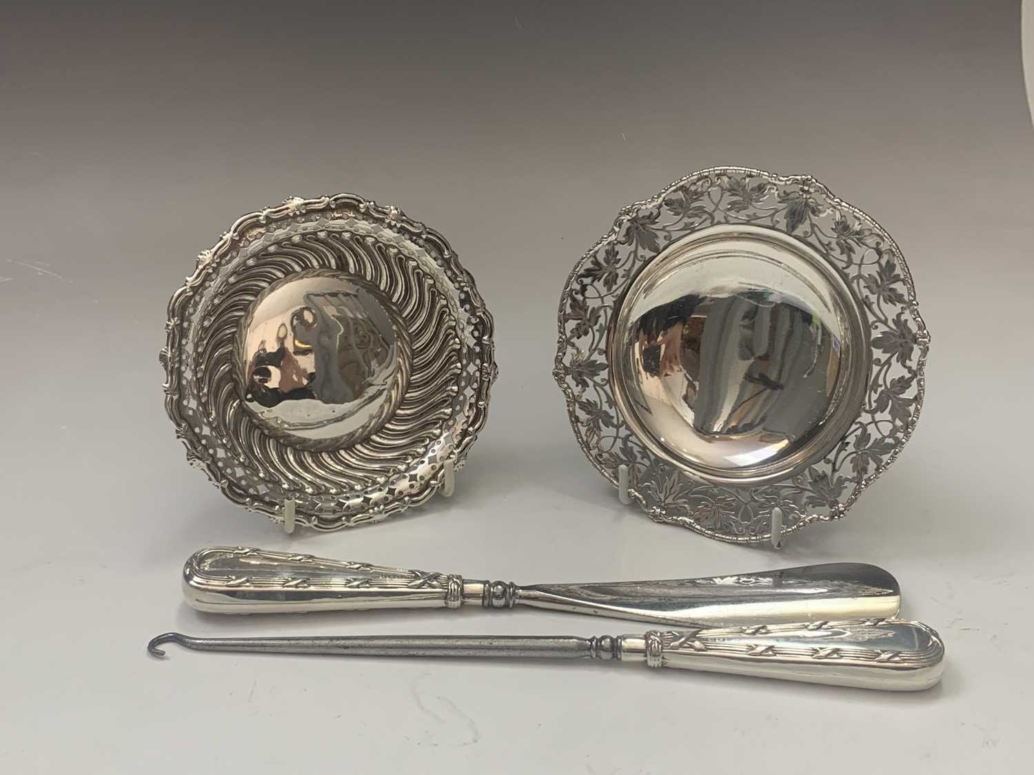 Lot 10-Two silver bonbon stands 4oz and a...