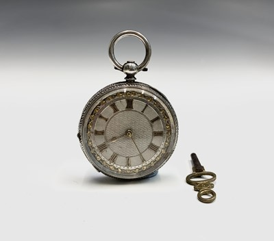 Lot 140A - A Victorian engraved silver keywind fob watch...