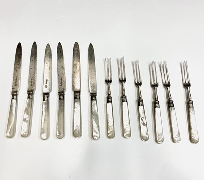 Lot 19-A set of six dessert knives and forks by...