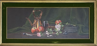 Lot 9 - Ted DYER (1940) Still life with copper kettle...