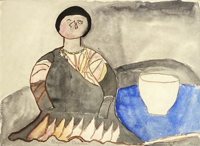 Lot 3 - Bryan PEARCE (1929-2007) The Doll Watercolour...