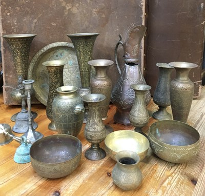 Lot 4 - Eastern brass vases and other decorative...