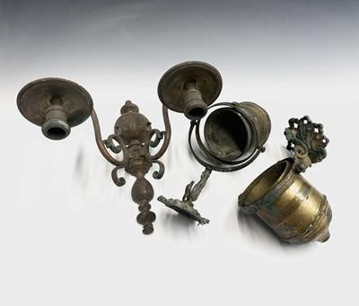 Lot 16 - A pair of brass gimbal light brackets, 20th...