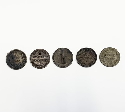 Lot 4 - London Inn and Pub tokens. Lot of five...