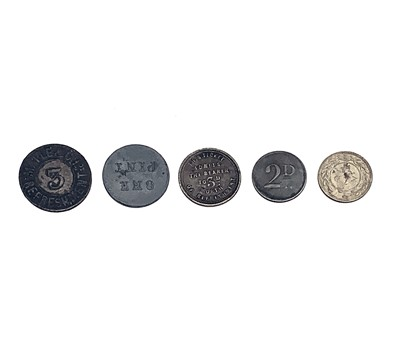 Lot 5 - London Inn and Pub Tokens Lot of five...