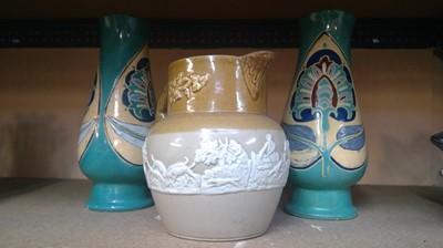 Lot 4 - A pair of Royal Barum ware vases and a Doulton...