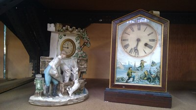 Lot 6 - Ceramic mantle clock modelled as a stable...