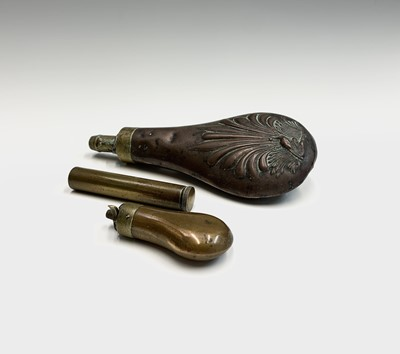 Lot 21 - A 19th century copper and brass small powder...