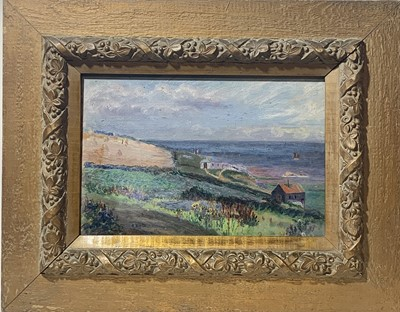 Lot 17 - S BROWN St Ives Headland Oil on panel Signed,...