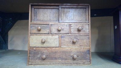 Lot 2 - Early 20th century pine minature chest of...