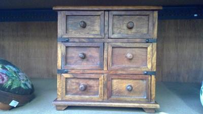 Lot 8 - Hardwood ironbound minature drawers.