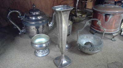 Lot 17 - Sterling silver trumpet vase, plated teapot, E....