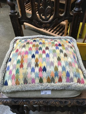 Lot 21 - Vintage cushion with knitted top decoration...