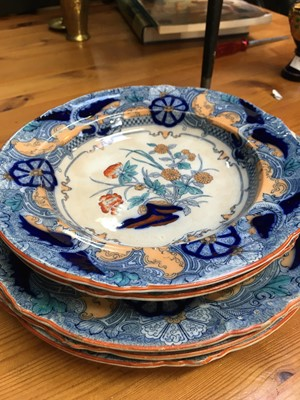 Lot 24 - Ironstone dinner plate, two soup plates, two...