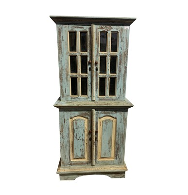Lot 65 - A French rustic blue and white painted cabinet,...