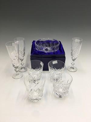 Lot 1 - Pair of Edinburgh crystal champagne flutes,...