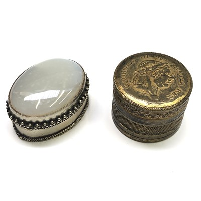 Lot 21-A 19th century circular gilt brass box, the lid...