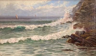 Lot 159 - James Lynn PITT (1875-1922) Waves Breaking on...