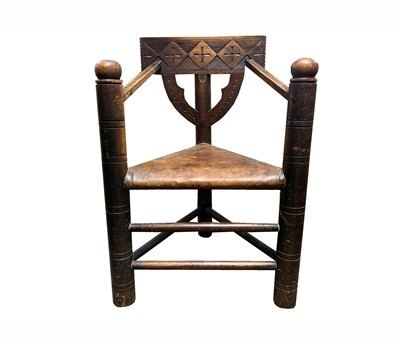 Lot 1 - A pine Turners chair, 19th century, the...