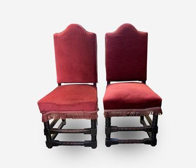 Lot 67 - A pair of Cromwellian style oak side chairs,...