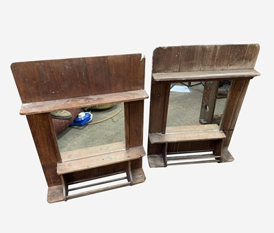 Lot 72 - A pair of pine wall mounted vanity mirrors,...