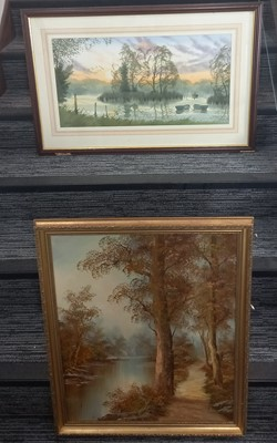 Lot 69 - An oil on board landscape of a woodland path...