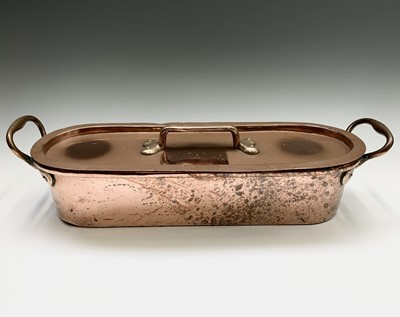 Lot 57 - A Victorian copper fish kettle and cover, of...