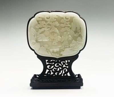 Lot 8 - A Chinese carved jade and hardwood table...