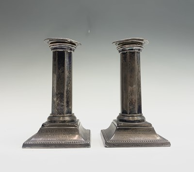 Lot 1042 - A pair of filled Victorian silver low...