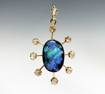 Lot 145 - An opal cameo pendant in the manner of Wilhelm...