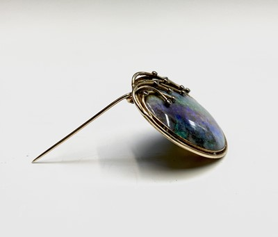 Lot 74 - A contemporary oval opal brooch, set in 9ct...