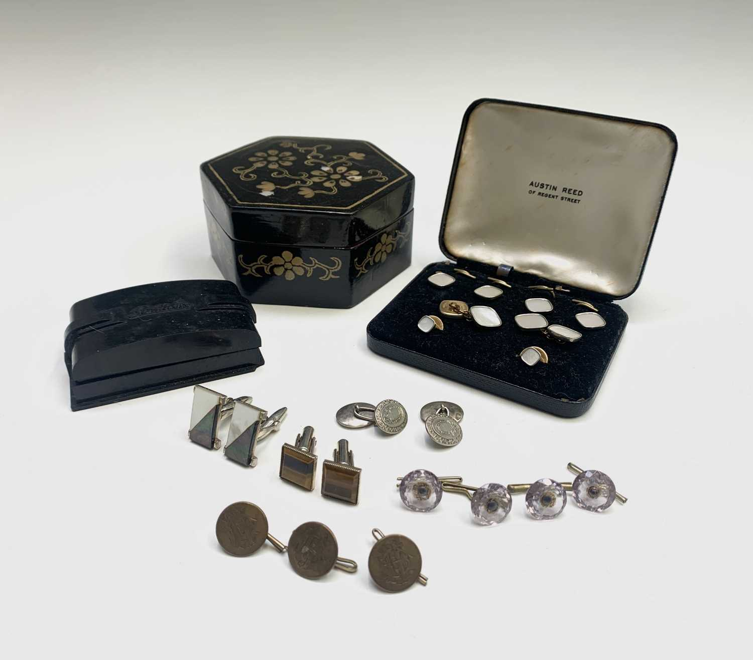 Lot 72 - Five amethyst buttons, a pair of silver...