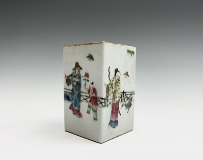 Lot 10 - A Chinese famille rose porcelain square brush...
