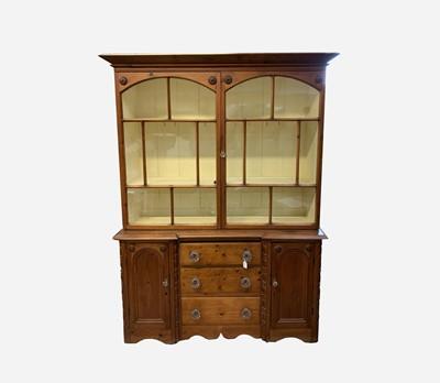 Lot 15 - A Victorian pine kitchen dresser, the upper...