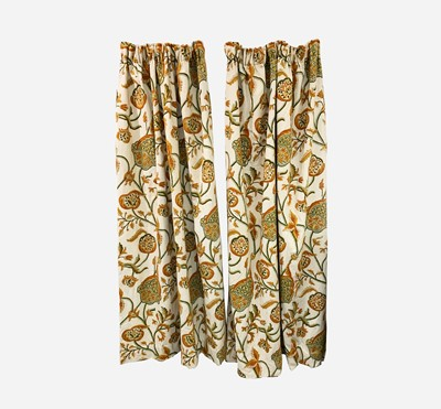 Lot 9 - Two pairs of lined crewelwork curtains worked...